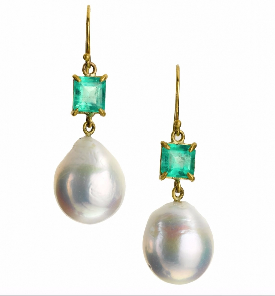 Margery Hirschey 22k gold and emerald earrings