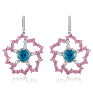 Campbellian Collection gold earrings with blue zircon, pink sapphires, and diamonds
