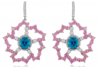 Bella Campbell of Campbellian Collection earrings in gold with blue zircon, pink sapphires, and diamonds
