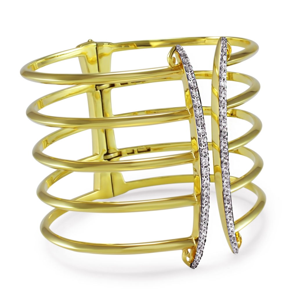 Hinged Sceptre Linea Corset cuff in 18k gold vermeil with CZ, $1,050; Realm