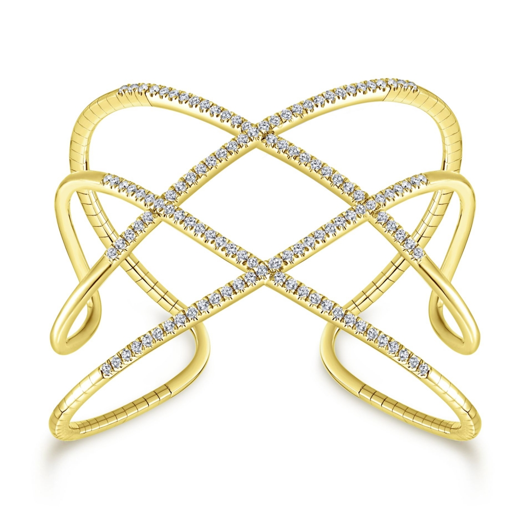 Cuff bangle in 14k yellow gold with 1.74 cts. t.w. diamonds, $6,240; Gabriel & Co.