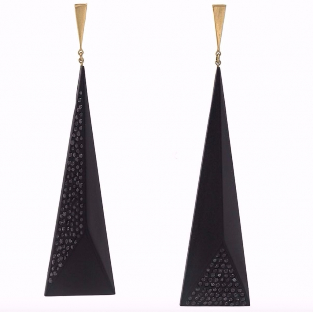 Medium Faceted earrings in 18k yellow gold with Whitby Jet and black diamonds, $2,675; Jacqueline Cullen at Be On Park