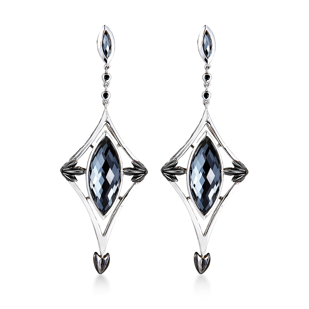 Athena earrings in sterling silver with hematite and black spinel, $795; Hera