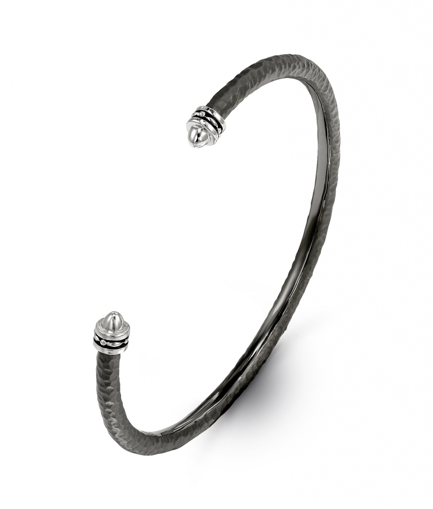 Classic Stax cuff in sterling silver with black rhodium, $375; Hera