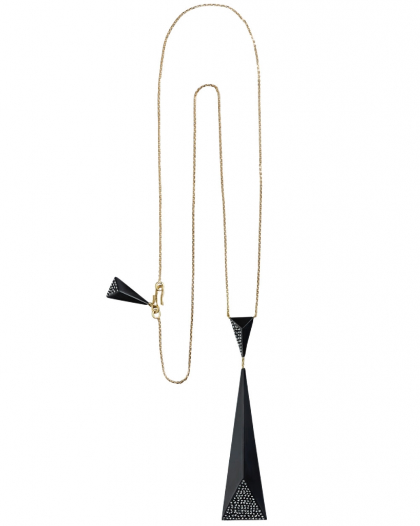 Drop pendant necklace in 18k yellow gold with Whitby Jet and black diamonds, $4,190; Jacqueline Cullen at Stanley Korshak