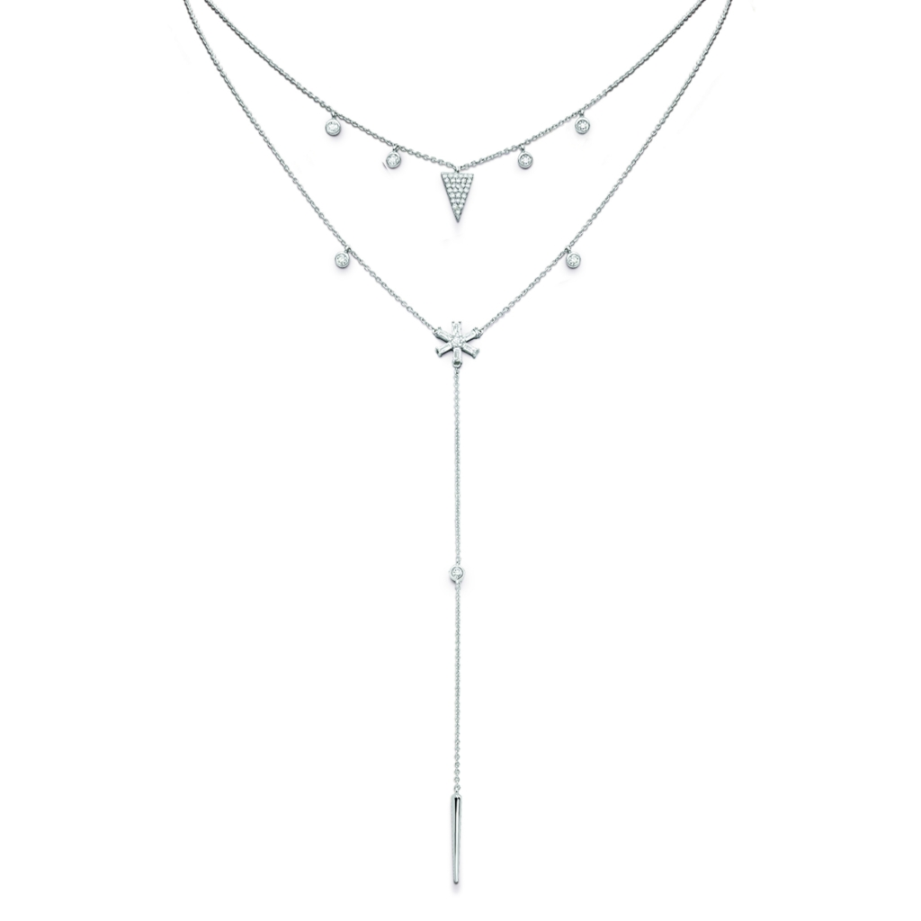 Layered necklace in 14k white gold with 0.42 ct. t.w. diamonds, $1,600; KC Designs