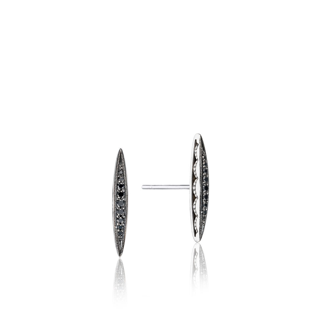 Bold Pavé Surfboard stud earrings in sterling silver with 0.12 ct. t.w. black diamonds, $450; Tacori