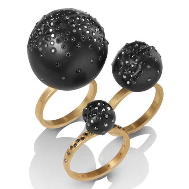 Large ring in 18k yellow gold with a 1-inch hand-carved Whitby Jet sphere with inlaid black diamonds, $2,300; Jacqueline Cullen at Gold Bug