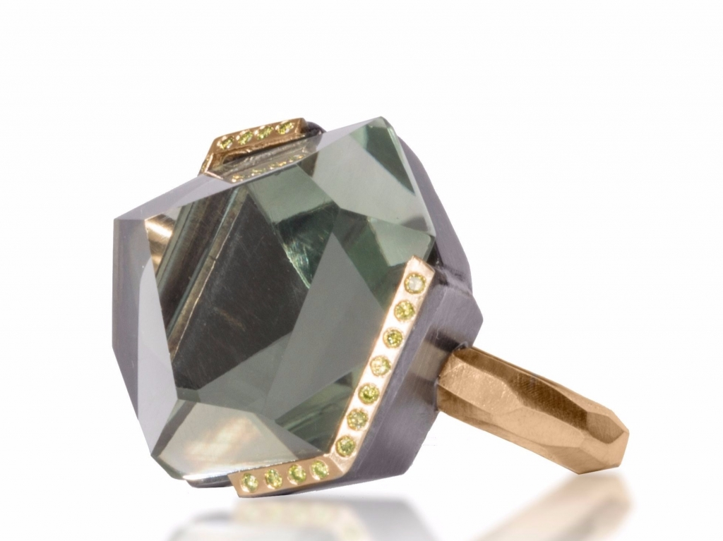 Facets ring in oxidized sterling and 18k gold with green amethyst and 0.23 ct. t.w. treated green diamonds, $4,390; Elizabeth Garvin