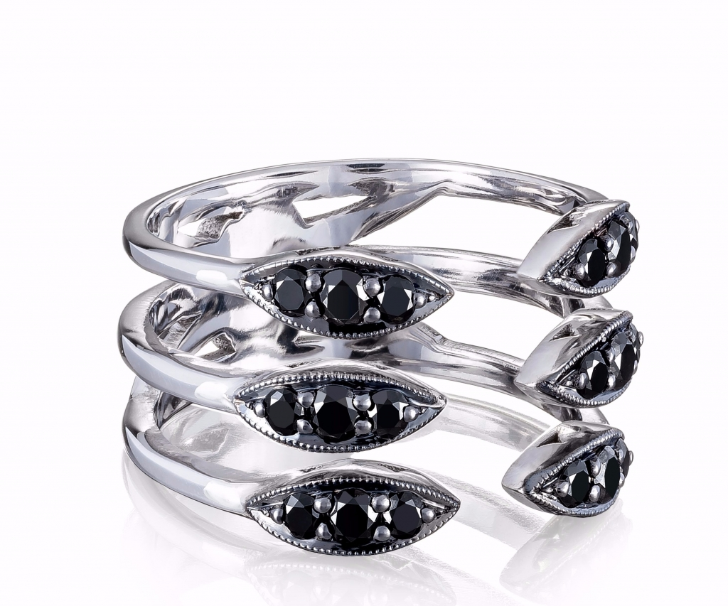 Ivy Lane Stacked Surfboard ring in sterling silver with 0.58 ct. t.w. black diamonds, $890; Tacori