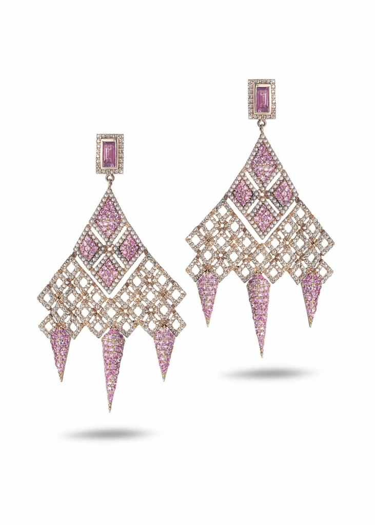 Earrings in 20k gold with 3.85 cts. t.w. pink sapphires, baby akoya pearls, and 1.73 cts. t.w. diamonds, $TK; Coomi, 866-867-7272; sahil@coomi.com