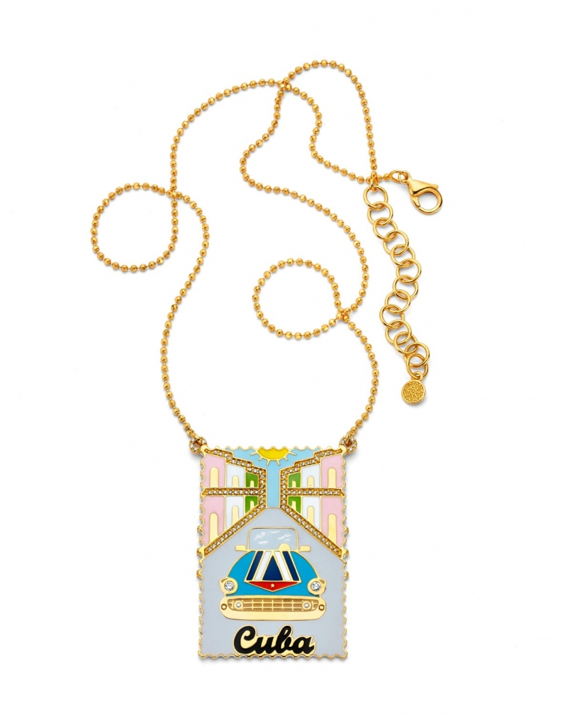 New vintage stamp-inspired pendant necklace in 20k gold and enamel from Buddha Mama Jewelry