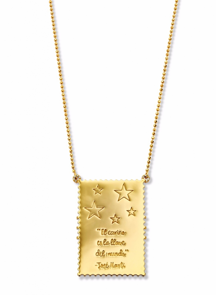 New vintage stamp-inspired pendant necklace in 20k gold with enamel from Buddha Mama Jewelry