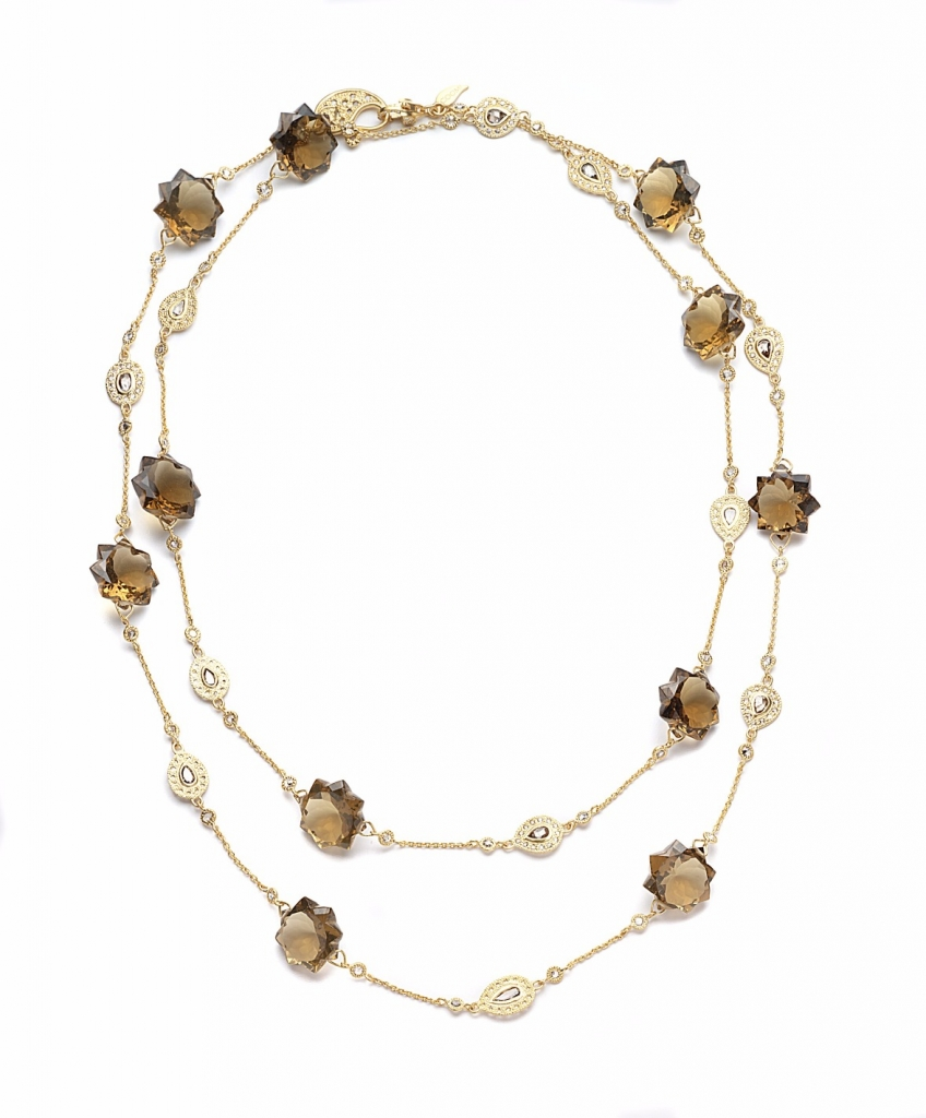 Affinity necklace in 20k gold with 88.9 cts. t.w. cognac quartz and 4.87 cts. t.w. diamonds, $18,000; Coomi, 866-867-7272; sahil@coomi.com