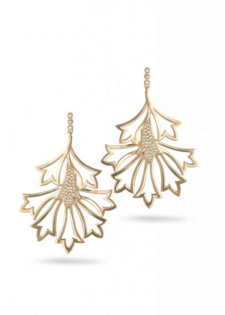 Earrings in 20k gold with 0.70 ct. t.w. diamonds, $13,000; Coomi, 866-867-7272; sahil@coomi.com