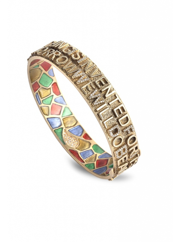 "Bracelet in 20k gold with plique-a-jour enamel and 0.6 ct. t.w. diamonds is inscribed ""Nothing is invented for it's written in nature first"" and ""Tomorrow we will do beautiful things,"" $46,000; Coomi"