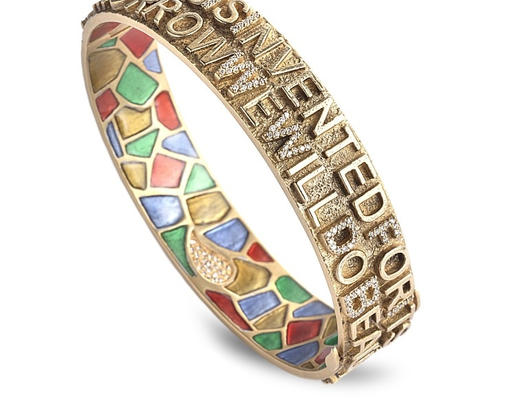 """Bracelet in 20k gold with plique-a-jour enamel and 0.6 ct. t.w. diamonds is inscribed """"Nothing is invented for it's written in nature first"""" and """"Tomorrow we will do beautiful things,"""" $46,000; Coomi"""