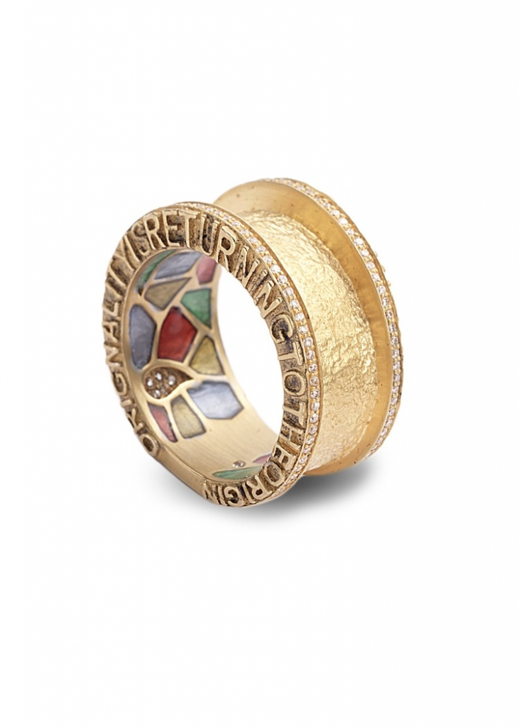 "Ring in 20k gold with plique-a-jour enamel and 0.38 ct. t.w. diamonds is inscribed ""Tomorrow we will do beautiful things"" and ""Originality is returning to the origin,"" $12,500; Coomi, 866-867-7272; sahil@coomi.com"