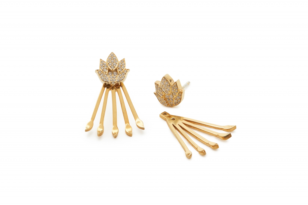 Agapi studs in 22k gold vermeil with white topaz and a removable floral-leaf jacket, $665; Katie Scott Design