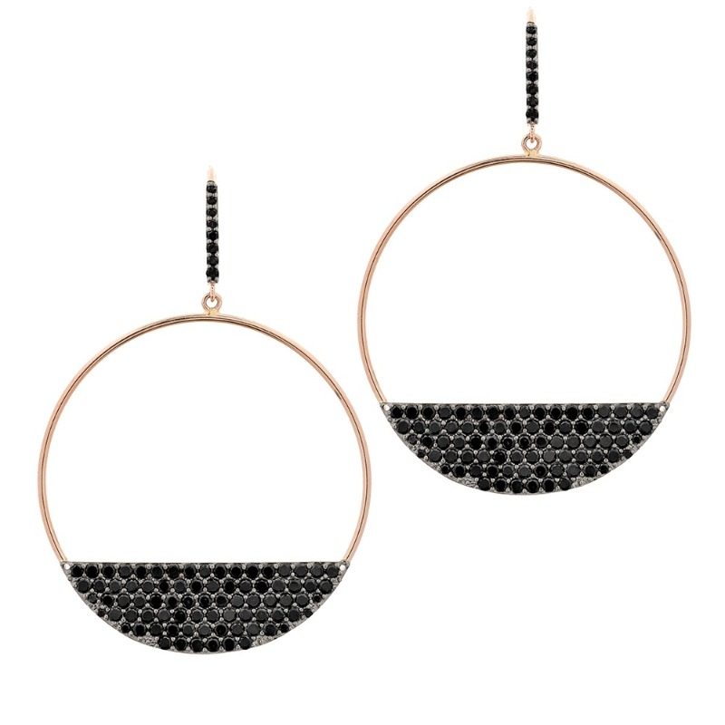 Reckless Eclipse drop-hoop earrings in 14k rose gold with black diamonds, $4,245; Lana Jewelry
