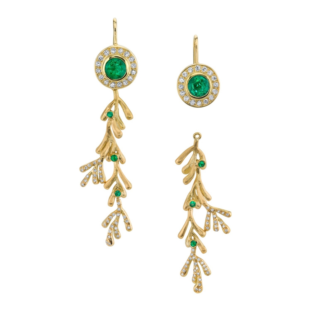 Convertible earrings in 18k yellow gold with 2.04 cts. t.w. emeralds and 0.64 ct. t.w. diamonds, $6,200; Cleison Roche, 310-773-1787; cleison@cleisonroche.com