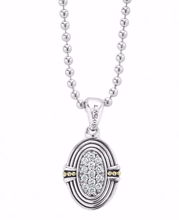Beloved locket pendant necklace Lagos in sterling silver with 18k yellow gold accents and 0.41 ct. t.w. diamonds, $1,500; Lagos