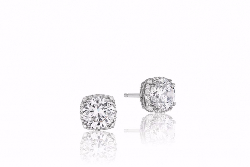 Dantela stud earrings in 18k white gold with 1 cts. t.w. diamonds, $3,390; Tacori