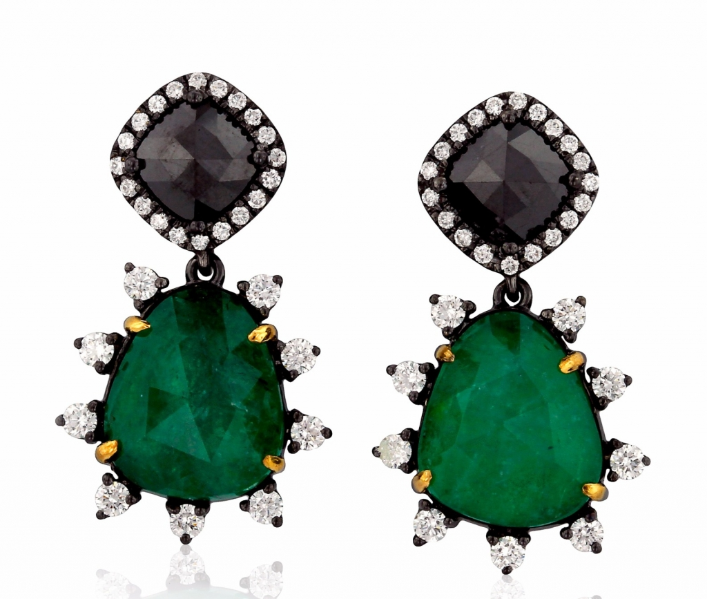 Earrings in 18k gold with black rhodium, 10.45 cts. emerald, 2.69 cts. black diamonds, and 0.99 ct. t.w. colorless diamonds, $20,206; Yael Designs For purchase: Buy from Yael Designs at info@yaeldesigns.com or 415-989-9235 ex 105