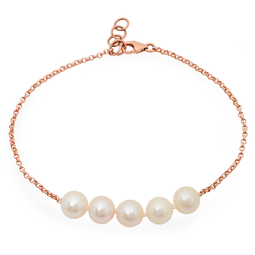Viola bracelet in 14k rose gold fits a 7-inch wrist and has 5 7 mm. freshwater pearls, $282; Victoria Six Jewelry