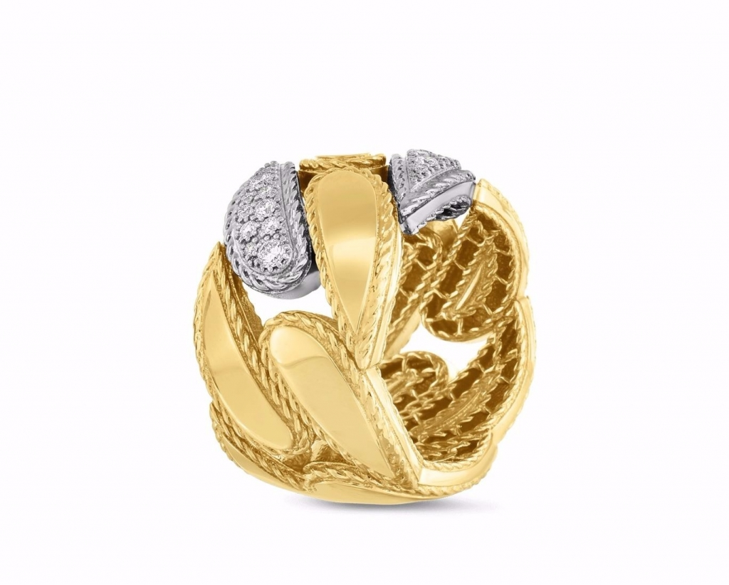 Groumette Link ring in 18k white and yellow gold with 0.27 ct. t.w. diamonds, $3,400; Roberto Coin