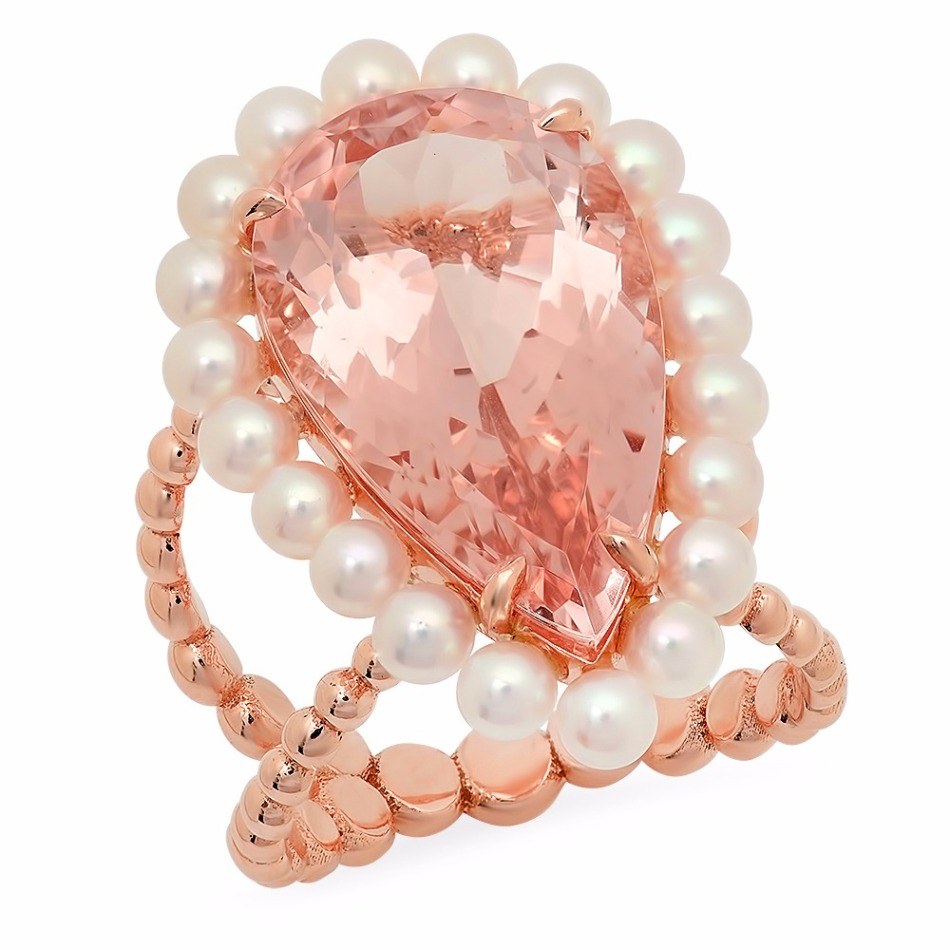 Victoria ring in 14k rose gold with an 11 ct. pear-shape morganite with 20 3.3 mm. akoya pearls, $5,200; Victoria Six Jewelry