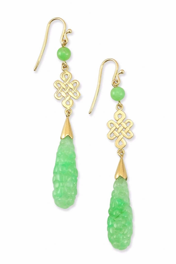 Carved apple green jadeite jade teardrop earrings in 14k yellow gold with an endless knot design and green jadeite bead accents, $3,150; Mason-Kay Classic Jade Collection For purchase: Buy from Mason Kay at 888-MASONKAY or kris@masonkay.com