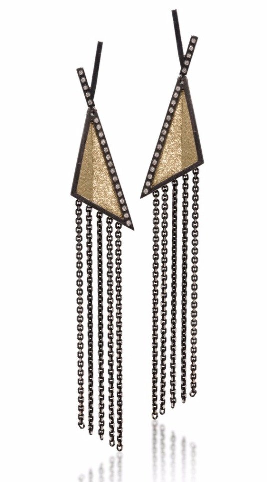 Hinged Gem Link earrings in 14k gold and oxidized sterling silver and 18k yellow gold bimetal with 0.276 ct. t.w. diamonds, $2,805; Elizabeth Garvin For purchase: Buy from Elizabeth Garvin at 212-420-9470 or info@elizabethgarvin.com