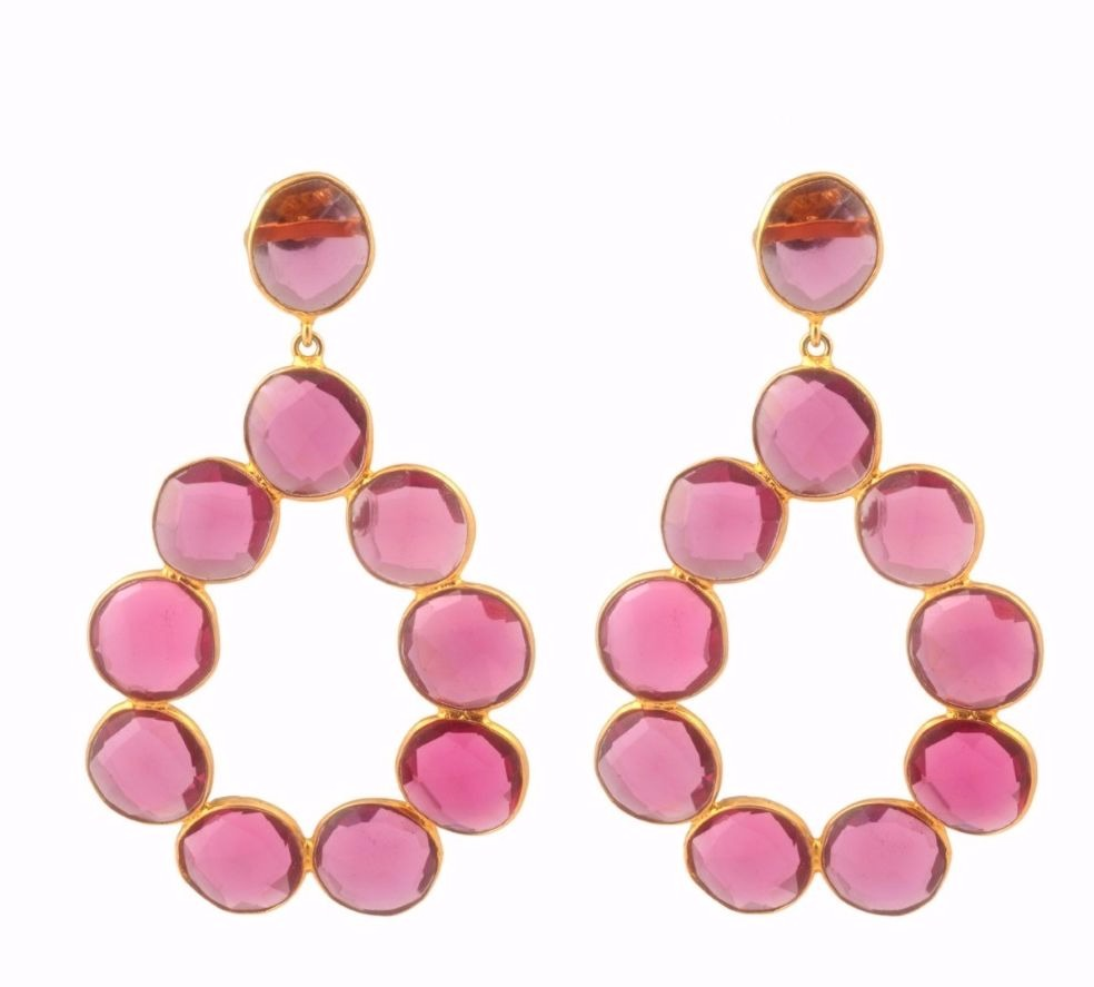 Earrings in 18k vermeil (18k gold over sterling silver) with pink quartz, $162; Elyssa Bass Designs Fifteen percent of sales benefit the Breast Cancer Research Foundation.