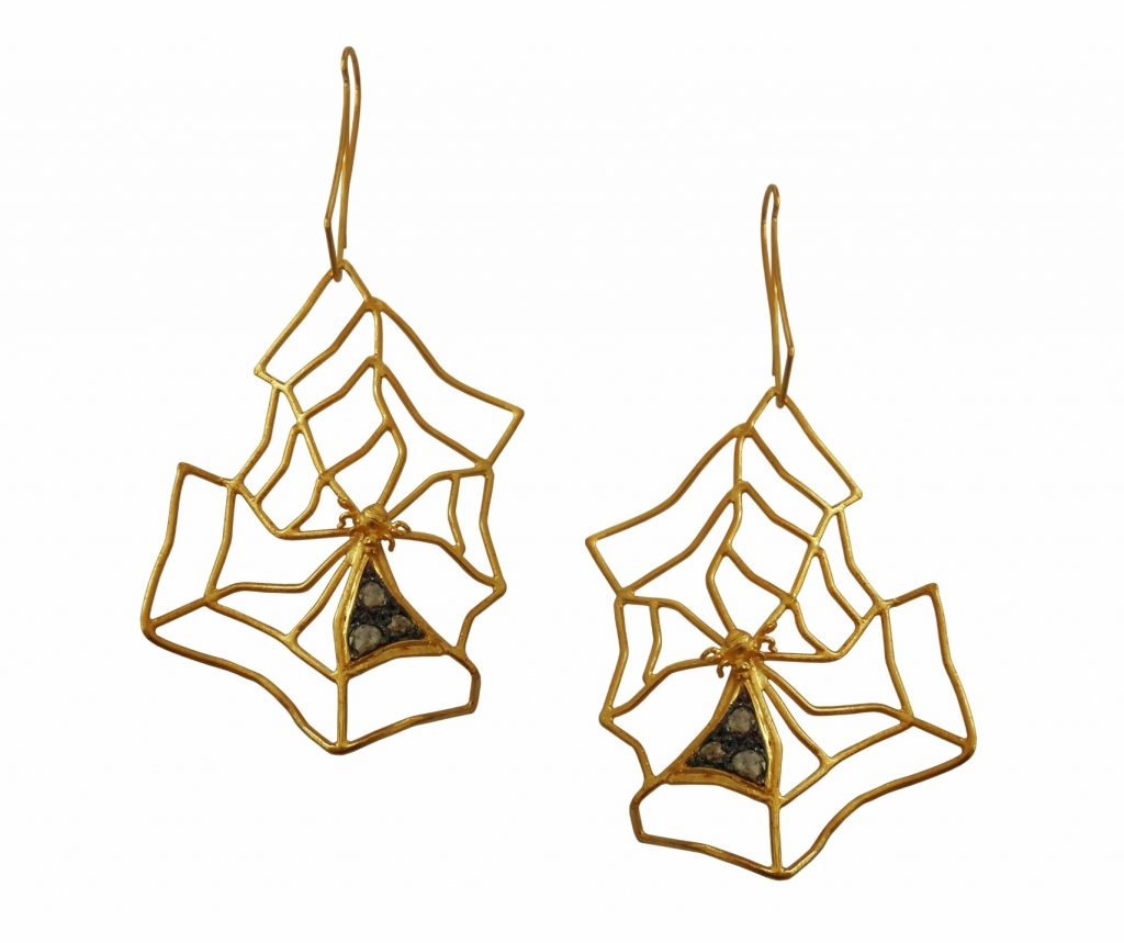 Spiderweb earrings in 18k white and yellow gold with blackened platinum and 1.2 cts. t.w. rose-cut diamonds $3,600; Thyreos Vassiliki For purchase: Buy from Thyreos Vassiliki at info@thyreosvassiliki.com or 30-69-4477-1320