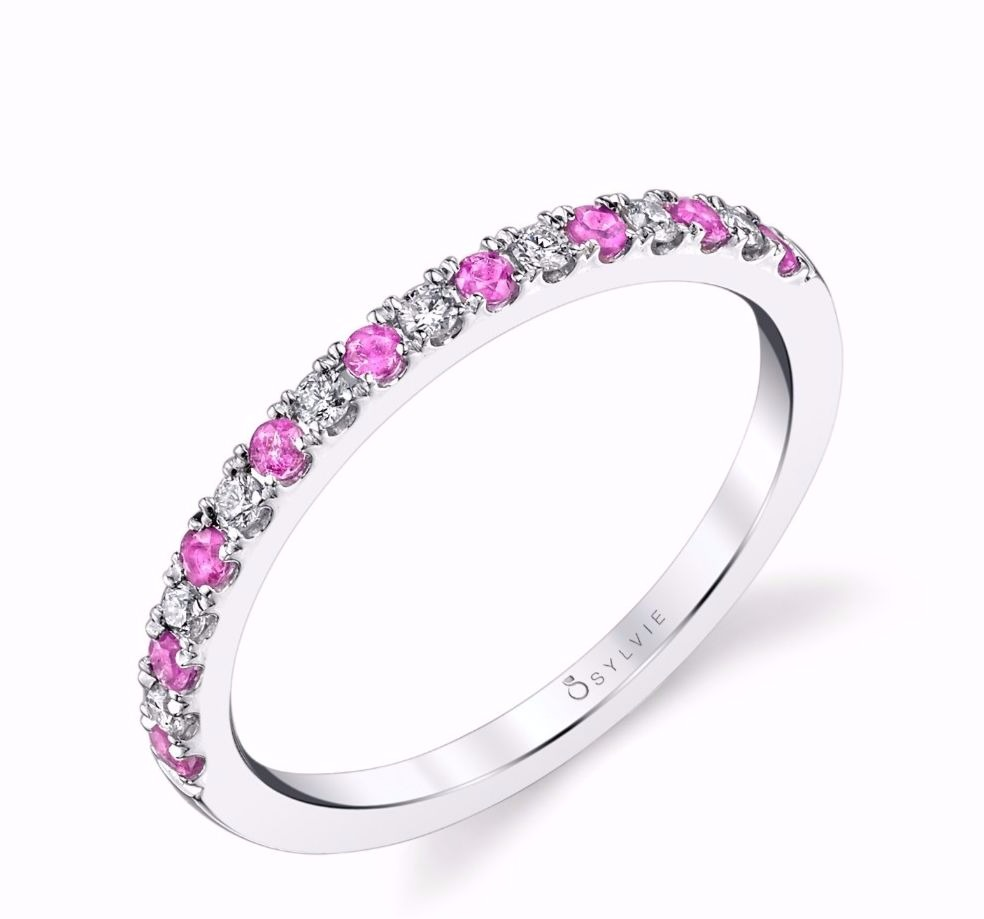 Band in 14k white gold with 0.28 ct. brilliant-cut diamonds and pink sapphires, $815; Sylvie Collection Ten percent of sales (of this ring all year and of every Sylvie piece this month) are given to the National Breast Cancer Foundation. You can also win this ring during October! Log onto Sylviecollection.com to find out how. Plus, each 'like' or 'follow' of @sylviecollection on Facebook or Instagram within October earns a charity organization $1 donation from the brand.