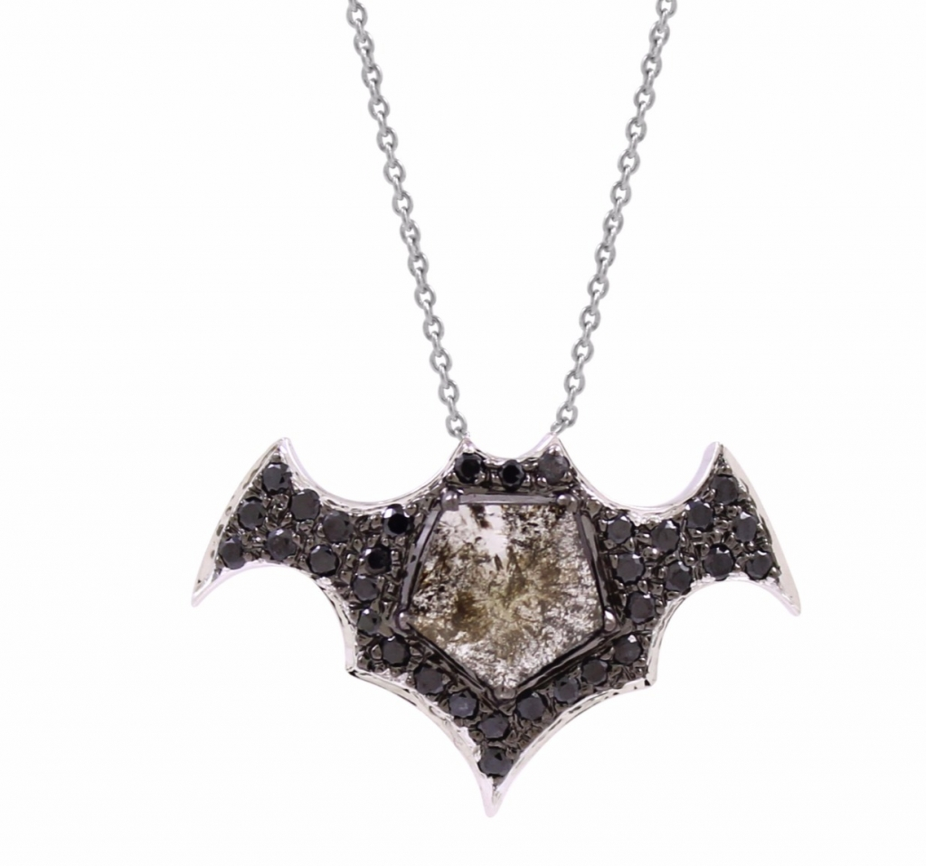 Batman necklace in 18k gold with black rhodium and 0.75 ct. t.w. natural-color rose-cut diamonds, $1,650; Vivaan For purchase: Buy from Vivaan at studio@vivaan.us or 212-302-0402