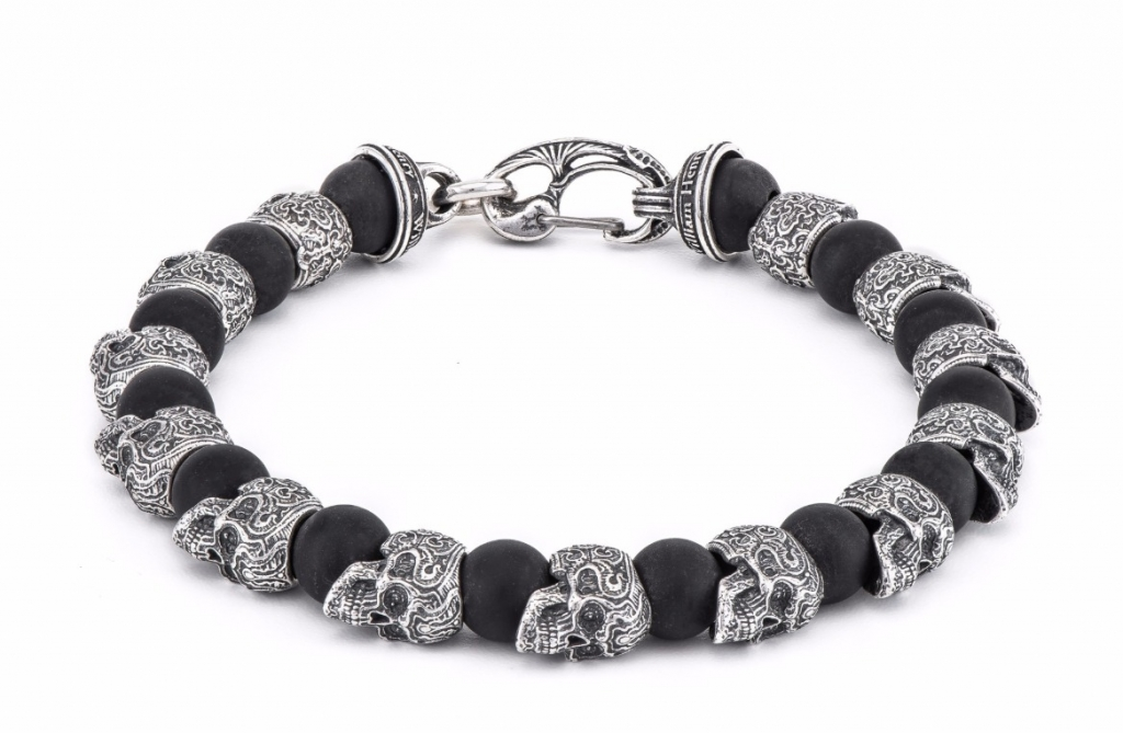 Shaman bracelet in sterling silver and frosted black onyx, $500; William Henry For purchase: Buy online at William Henry