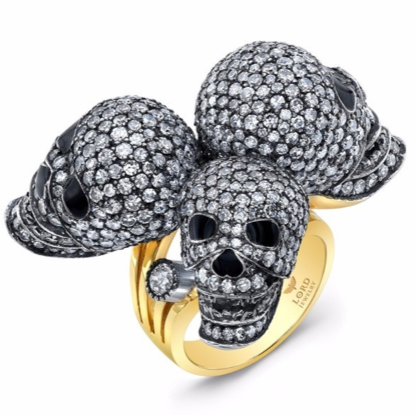 One-of-a-kind Triple Skull ring in 18k white and yellow gold with 6.54 cts. diamonds and enamel, $34,000; Lord Jewelry For purchase: Buy from Lord Jewelry at lordjewelry@gmail.com or 213-489-0039