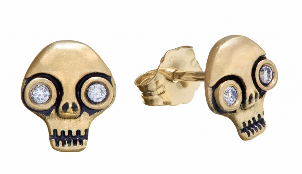 Skull studs in 18k gold with 0.06 ct. t.w. diamonds, $600; Wendy Brandes For purchase: Buy online at Wendy Brandes Bonus: Use the code PoorYorick at checkout for a 33.3 percent discount! Also applicable to her other skulls as well as vampires and poison themes.