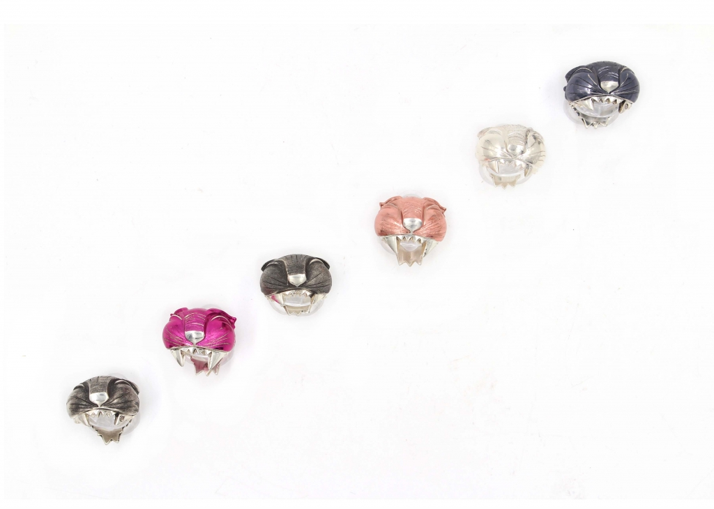 Pussy rings in sterling silver with colored nano-ceramic, $250 apiece; Laila Farcas-Ionescu