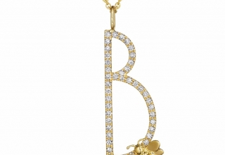 B letter in 18k white gold from Type with a bumblebee accent and 0.52 ct. t.w. diamonds, $4,600; Mimi So