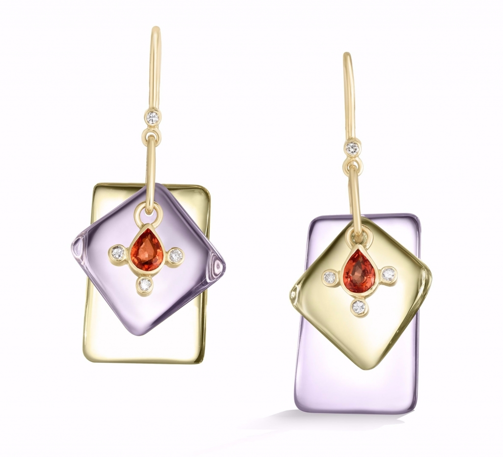 Gemstone earrings in gold from Loriann Jewelry<br /> For purchase: For purchase: Visit The Store at MAD, call 212-299-7777, or email info@madmuseum.org