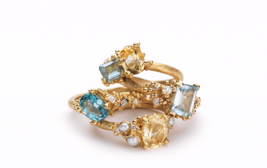 Engagement rings in gold with colored gemstones from Ruth Tomlinson<br /> For purchase: For purchase: For purchase: Visit The Store at MAD, call 212-299-7777, or email info@madmuseum.org
