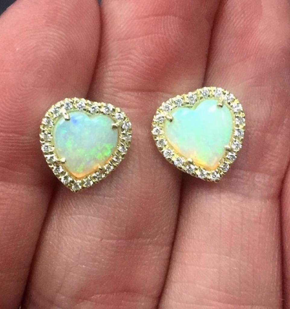 Heart-shape stud earrings in 18k gold with 1.85 cts. t.w. Ethiopian opal and 0.31 ct. diamonds, $3,795; Lauren K. For purchase: Email info@laurenk.com or call 212-719-2067.