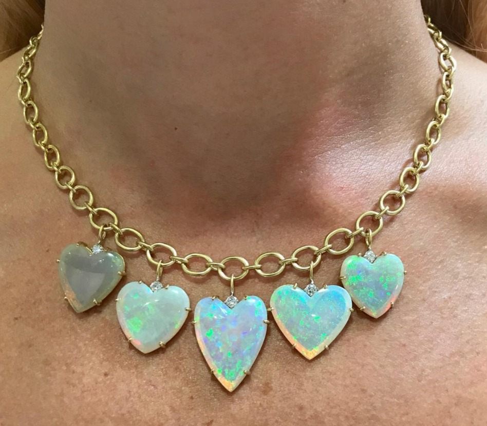 Heart-shape opal necklace from Irene Neuwirth Credit: @ireneneuwirth on Instagram