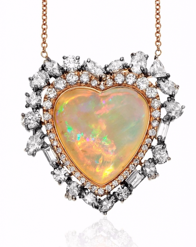 Heart-shape opal necklace in the private collection of Kimberly McDonald