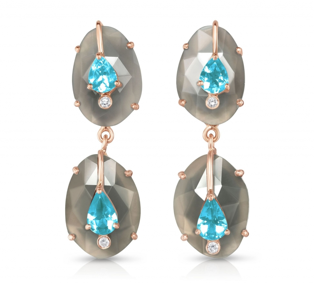 Double-drop earrings in 14k rose gold with gray moonstone, apatite, and diamonds, $1,980; Loriann Jewelry