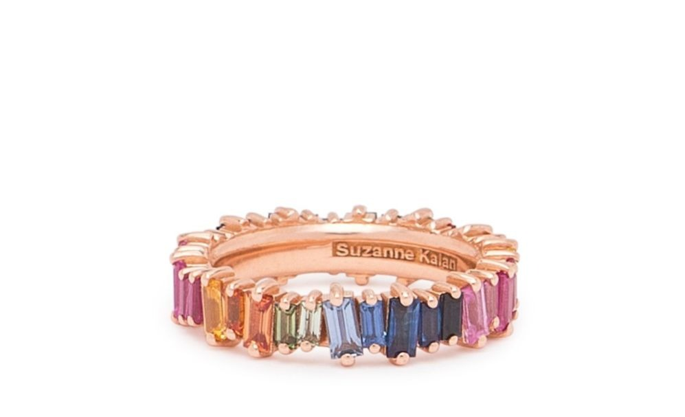 Rainbow Fireworks eternity band in 18k rose gold with 4.65 cts. t.w. baguette-cut multicolored sapphires, $3,000; Suzanne Kalan