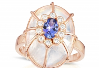 Ring in 14k rose gold with moonstone, tanzanite, and diamonds, $2,205; Loriann Jewelry